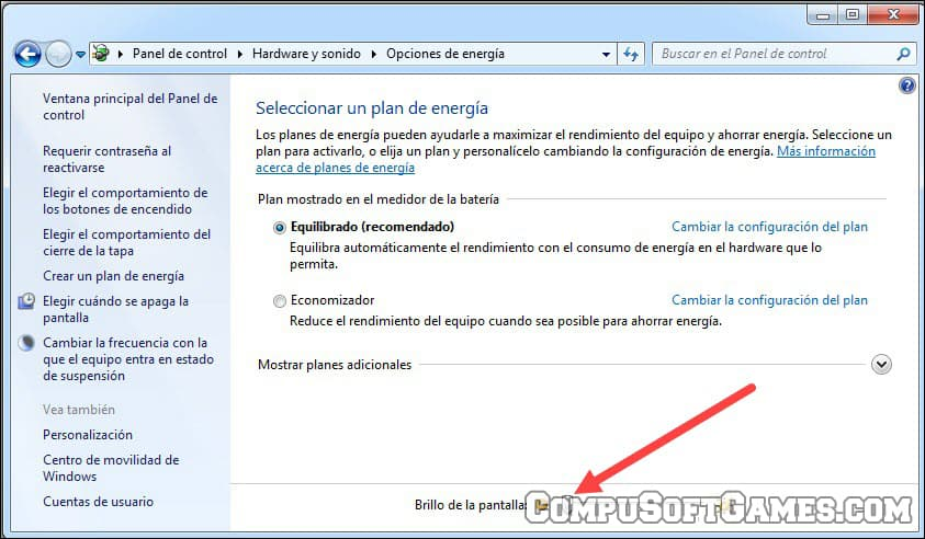Brillo de pantalla en windows 7 u 8